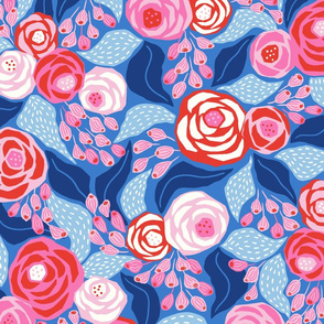 bright pink and blue roses/large scale