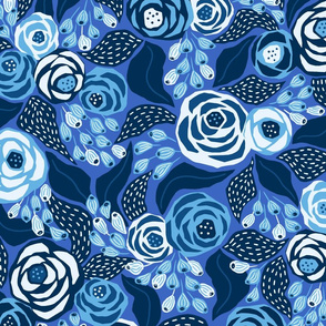 bright blue papercut roses/large scale