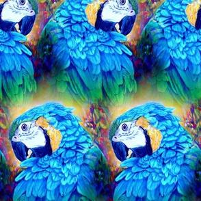 PARROT HEAD 2 ALTERNATE ROWS MULTICOLOR ORIGINAL BLUE SUMMER TROPICAL PSMGE