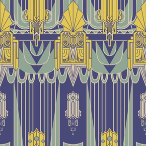 Art Deco 1930s Architecture (Navy Blue)