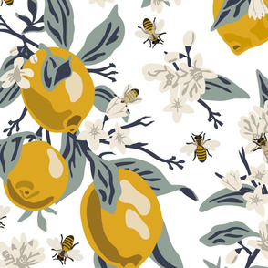 Bees And Lemons - Jumbo - White