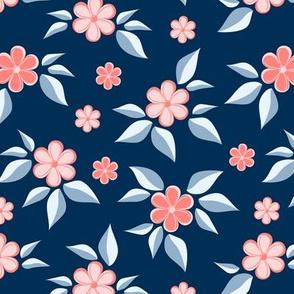 Pink flowers on dark blue