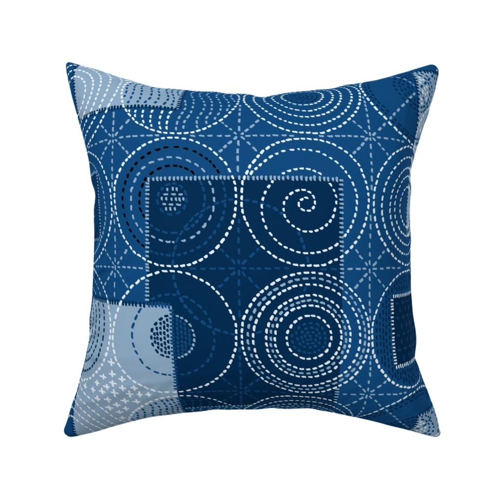 Catalan Throw Pillow featuring Sashiko 2020 Blues by elramsay