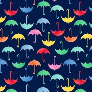 umbrellas on navy blue medium 1.5 inch scale