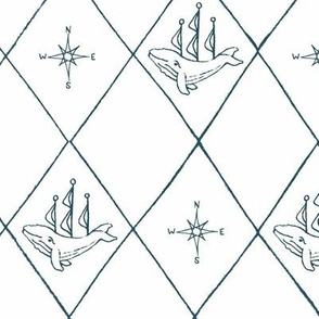 large diamond pattern whale ships and compass turquiose blue