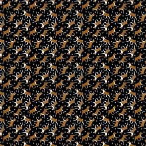 Tiny Trotting red Basenjis and paw prints - black
