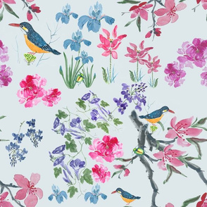 Chinese Style Watercolor Flora and Fauna