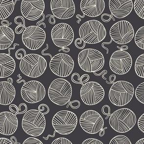 Yarn Balls - creamy white on charcoal black- small scale