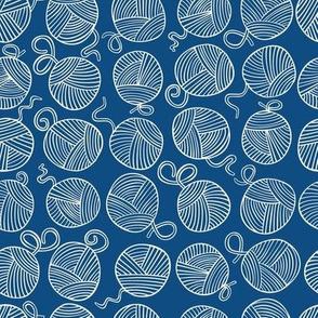 Yarn Balls - creamy white on classic blue - small scale