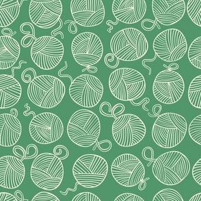 Yarn Balls - creamy white on evergreen - small scale