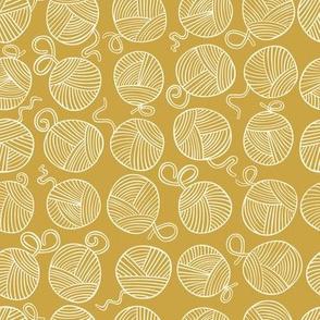 Yarn Balls - creamy white on mustard yellow - small scale
