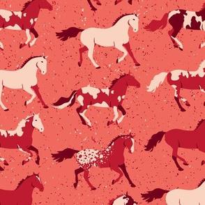 Running Horses in Red by ArtfulFreddy