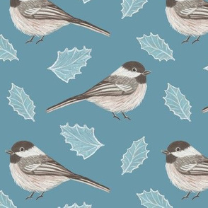 Chickadees and leaves on blue