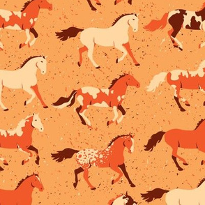 Running Horses in Orange by ArtfulFreddy