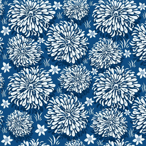 Classic Blue Zinnia Garden