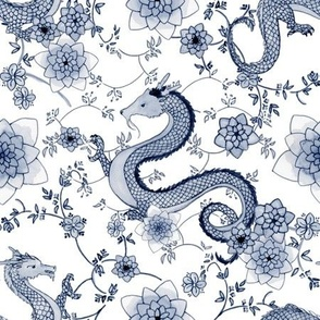 Chinoiserie Slate Blue Grey Dragons