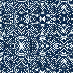 Tribal Bohemian Print Dark blue on Light blue