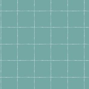 Thin Grid: Mint Green Mid Scale | Painterly Geometrics
