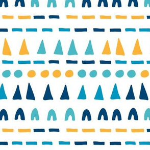 Playful shapes - navy blue, cyan and gold