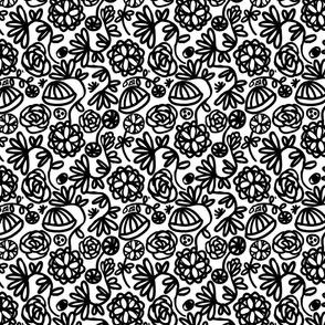 black and white 90s spring illustration