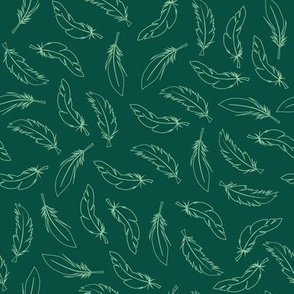 Feathers on green background. Westernstyle repeat pattern texture.