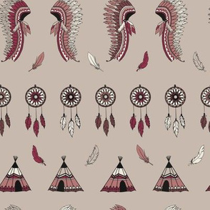 American indian pattern dream catcher wigwam and feather crown