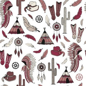 American indian and cowgirl seamless pattern print background texture