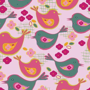 cute chicks on pink