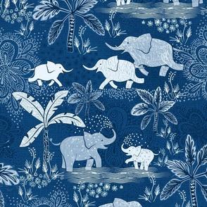 Happy Elephants in Blue - large scale