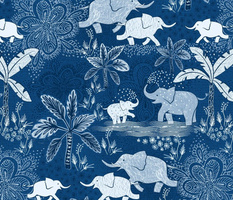 Happy Elephants in Blue - large scale