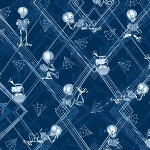 Literary Skeletons -- Small Scale -- Halloween Skeleton Reading Library Book - Classic Blue Skull