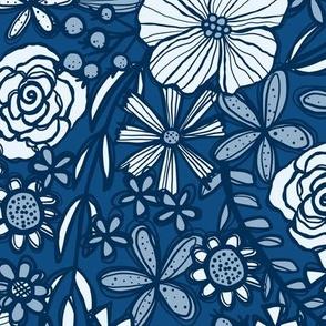 Classic Blue Blooms (Dark)