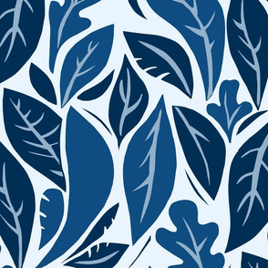 Silhouette of Leaves in blue
