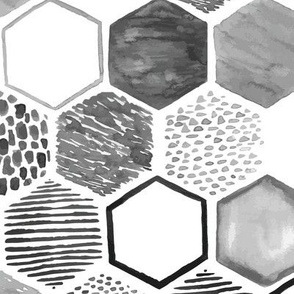 Micah's black and white watercolor hexagons
