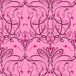 Thin Pink Damask