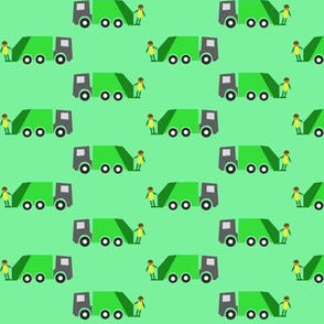 Garbage truck green background - Camion-poubelle fond vert