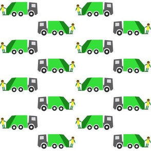 Garbage truck white background - Camion-poubelle fond blanc