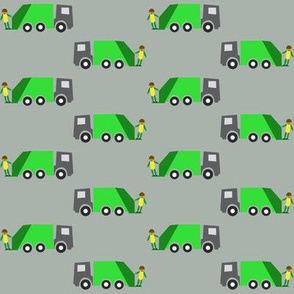 Garbage truck grey background - Camion-poubelle fond gris