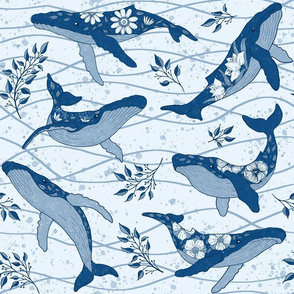 Humpback Whales in blue