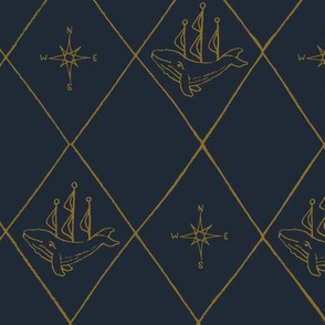 large diamond whimsical nautical whale ship and compass navy gold