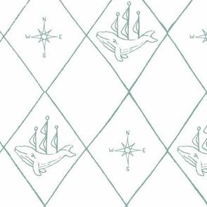 Large Diamond Whale Ship and Compass Baby Kid Nursery Home Decor