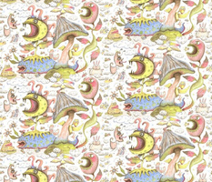quirky spring flora and fauna fantasy pastels, large scale, white blue yellow green pink brown coral red