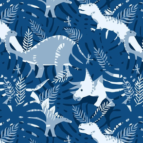 Dinosaurs in Classic Blue