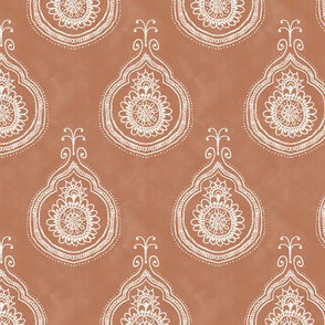 boho print in dusty peach orange batik henna large scale wallpaper,  bohemian, hand-drawn, sun, henna, tie-dye, batik, baby girl, boho nursery