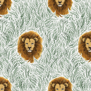 jungle lion large shale green boho , boy, unisex, gender neutral baby home decor, nursery, wallpaper, tendy
