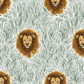 large jungle lion shale green boho boy