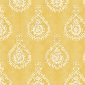 large Boho batik henna decorative yellow pattern