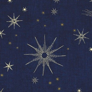 2 inch and 4 inch Mystic magic Gold Stars on dark Blue Night Sky hand drawn large scale, home decor, astrology, astronomy, moon