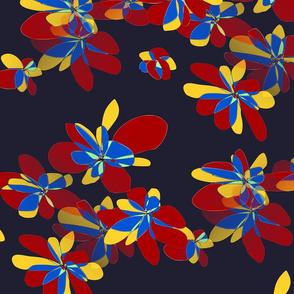 Colored flowers on dark background - Fleurs colorées sur fond sombre