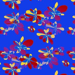 Colored flowers on dark blue background - Fleurs colorées sur fond bleu foncé